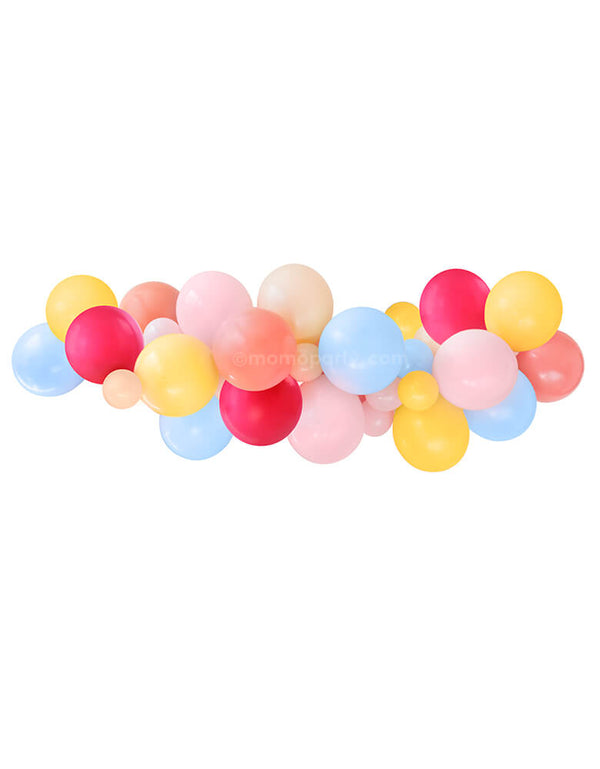 "Momo Party Fiesta Balloon Garland. Assorted 11"" (large) & 5"" (small) latex balloons garland kit in coral, matte pastel pink, matte pastel blue, willberry, goldenrod and fashion blush, design for a modern Fiesta themed celebration, Boho Fiesta birthday. cinco de mayo celebration."