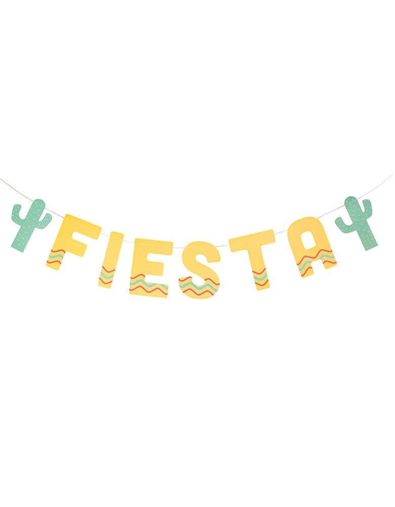"My Minds Eye Fiesta Banner with ""Fiesta""phrase Letters and 2 cactus die cuts for your Fiesta Party decoration"