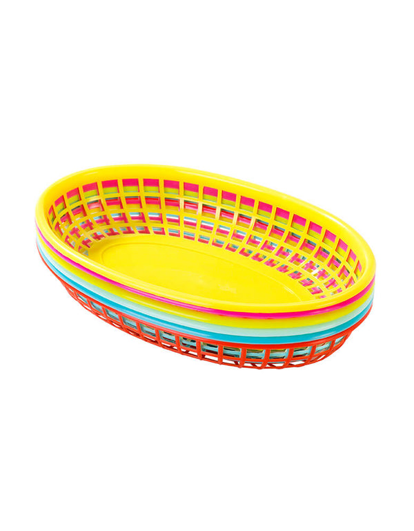 Talking Tables - Fiesta Cuban Food Baskets. Stacked with 6 plastic food baskets in 6 different colours, Serve up your Latin American snacks and treats in these bright Cuban-inspired food baskets.