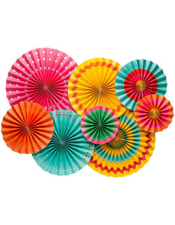My Minds Eye Fiesta Paper Fans Set of 8 in multiple fesitive colors