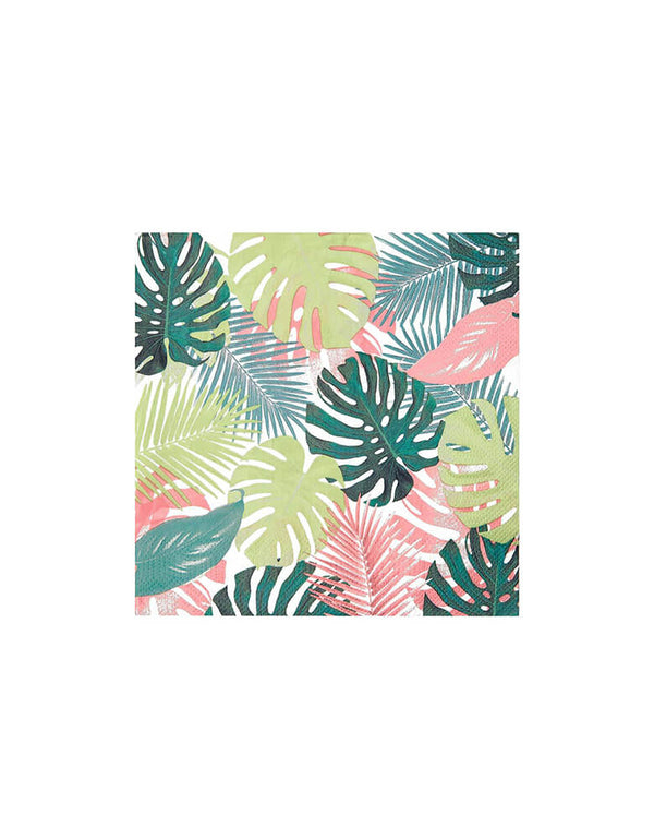 Talking Tables - Pastel Tropical Palm Leaf Napkins. This pack of home compostable and recyclable napkins features palm leaves in pretty pastel colors. The perfect party tableware for a tropical party, summer birthday, picnic, BBQ or garden party!