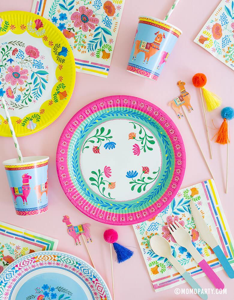 Eco friendly Morden Party paper tablewares of Taking table Boho Fiesta Floral Plates, Napkins, llama paper cups, Pom Pom Picks for a modern Mexican Fiesta themed birthday party, Cinco de mayo Celebration