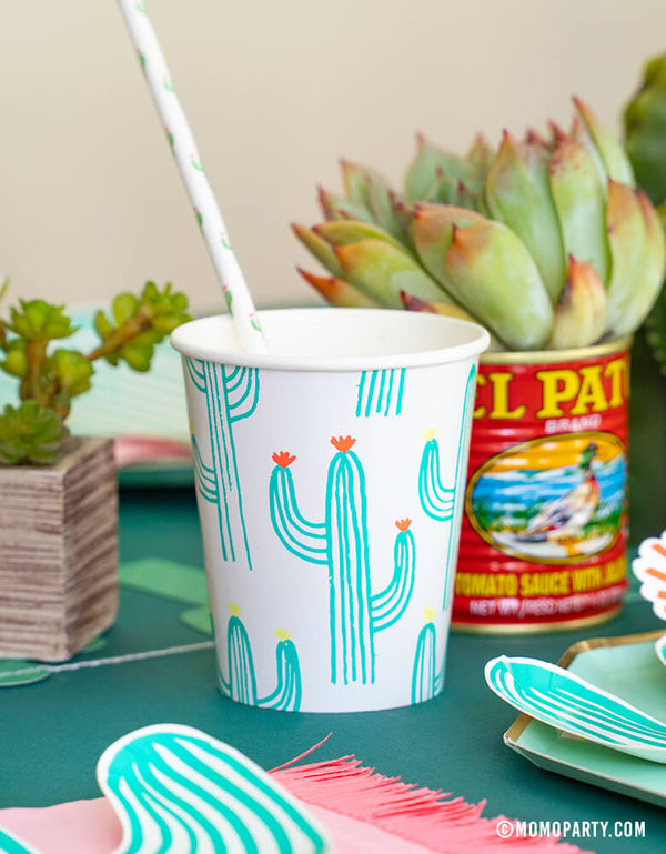 Cactus theme party table set up with Meri Meri Cactus printed paper Cup with cactus paper straw with succulent plants