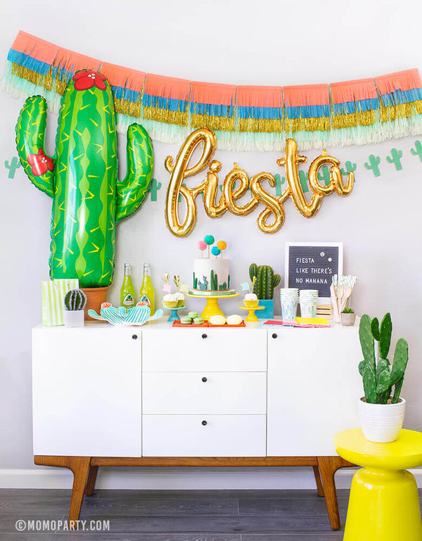 Momo party in a box, Cactus Fiesta themed Morden Party tablewares, Party Supplies, Fiesta foil balloon, Cactus Foil balloon,  Party garlands decoration inspiration for Mexican Fiesta themed birthday party, Cactus themed Celebration