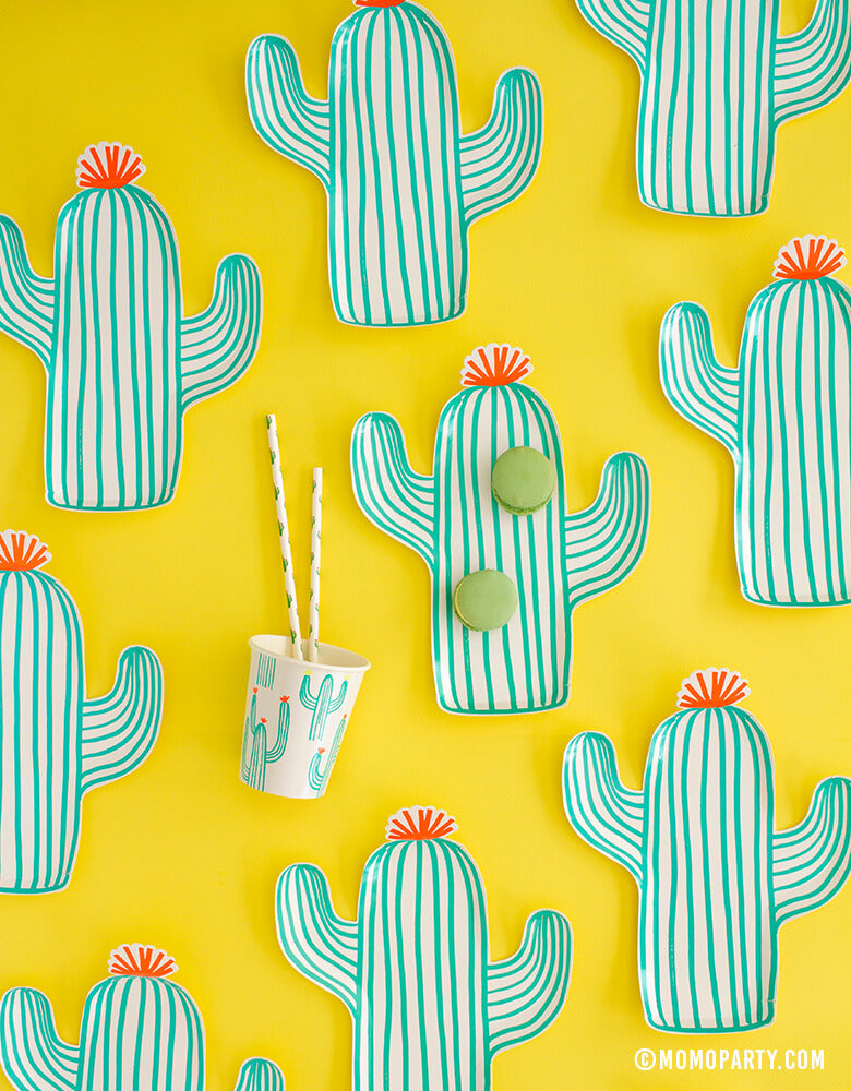 Meri Meri Cactus Shaped Paper Plate and Cactus Cup for Fiesta, Mexican themed party or Cinco de Mayo celebration.