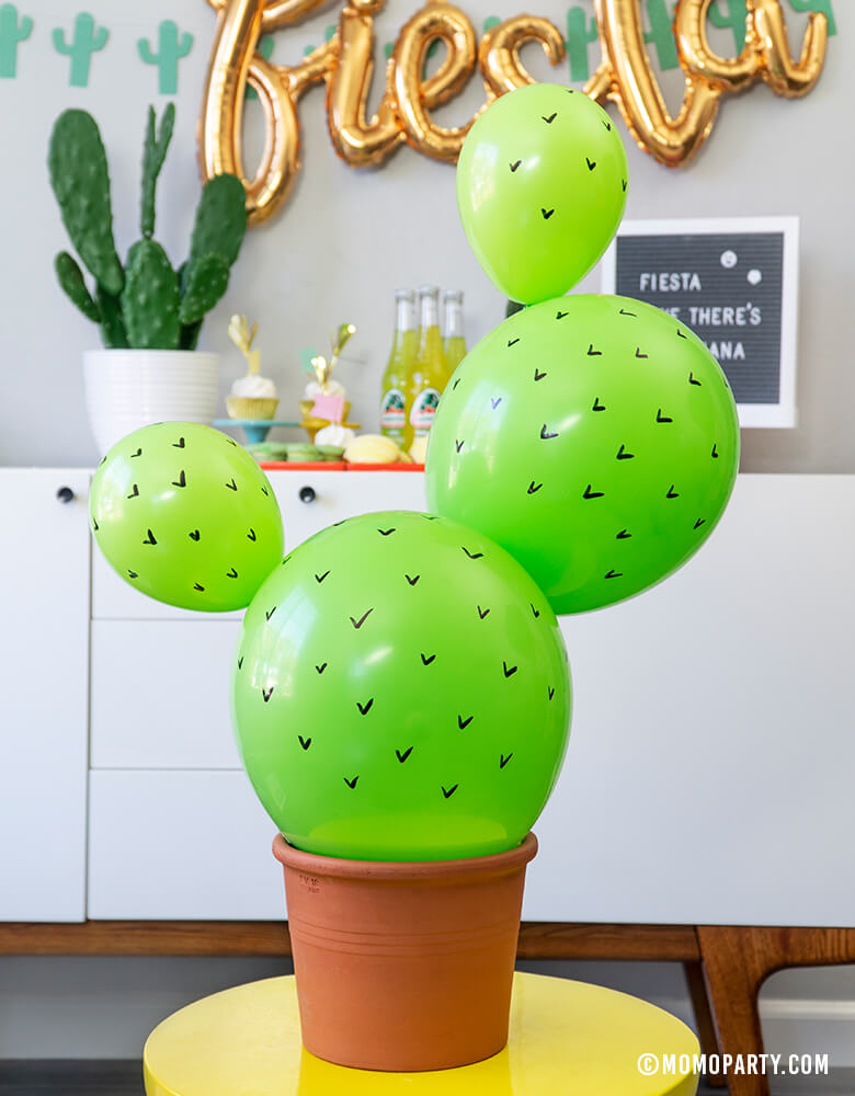 Cactus in a planter easy diy made with Lime Latex balloons inspiration for a modern Fiesta Cactus Theme party