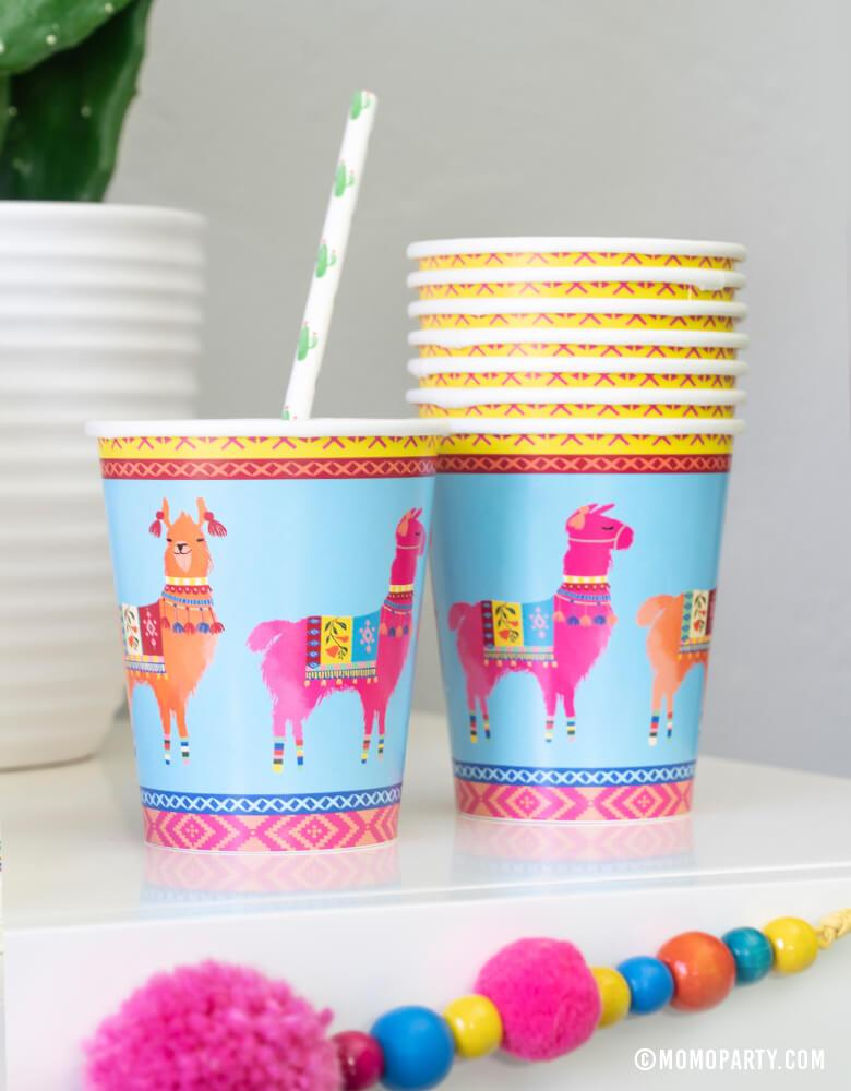 Talking Tables Boho Fiesta Llama Cups, with Cactus printed paper straws, for a Modern Cinco De Mayo Party