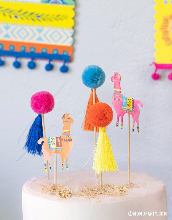 Talking Tables Boho Fiesta Pom Pom Llama Food Picks for Boho Fiesta themed cake topper