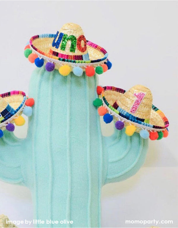 First Fiesta Mini Straw Sombrero with Bright Pom Poms