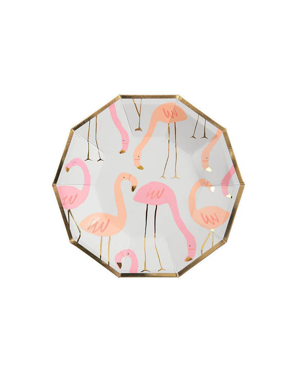 Meri Meri Flamingo Small Plates. These stylish plates are decorated with a beautifully illustrated pattern in shades of neon pink, embellished with shiny gold foil.