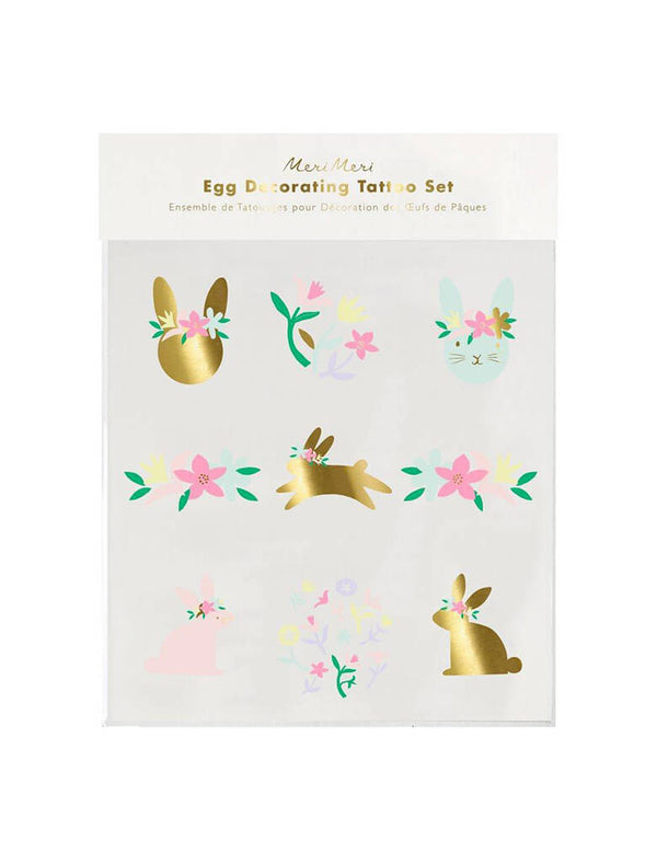 Meri Meri Floral Bunny Egg Decoratung Tattoo Kit