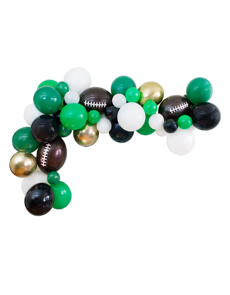 Football theme Balloon Garland, with Black, Gold Chrome, White, Green, Lime, Football shaped Latex Balloons, diy decoration for Football Themed birthday party, Super bowl Party