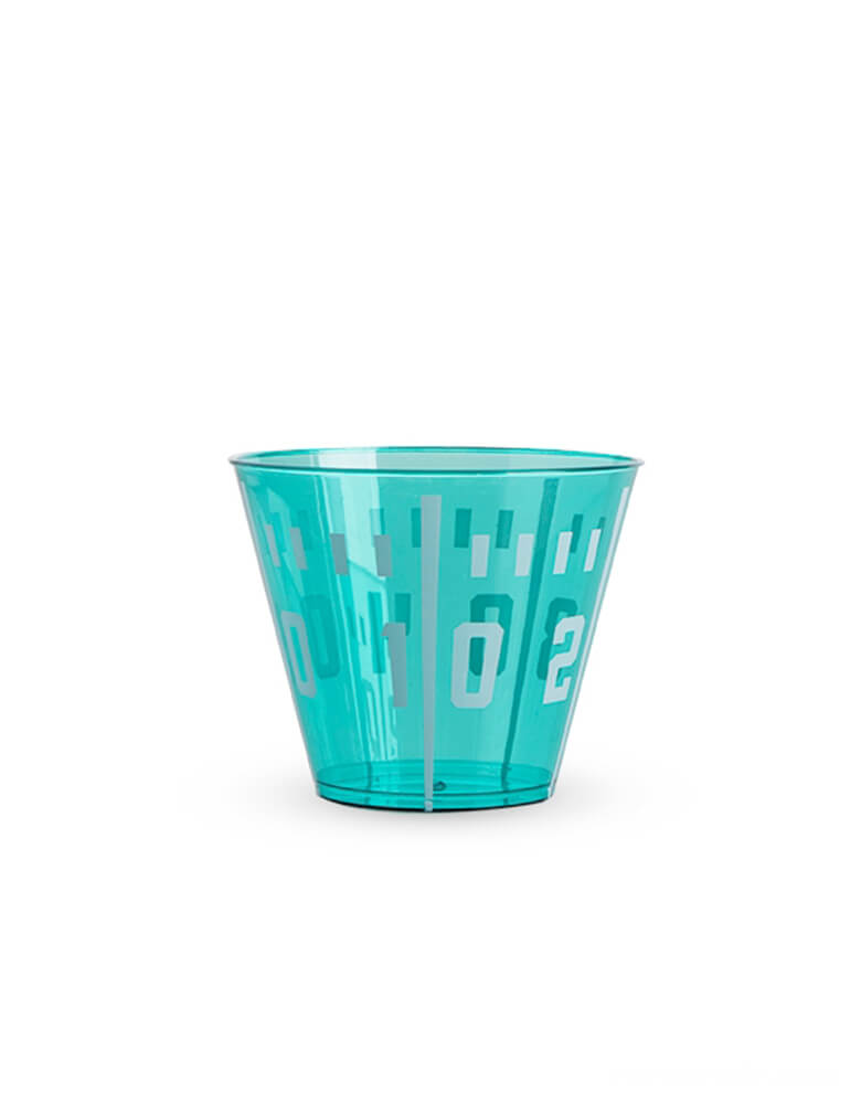 cakewalk partyware - Football Yard Line Plastic Cups, green color 9oz cup with numbers print, These party cups are perfect for your football themed celebration.