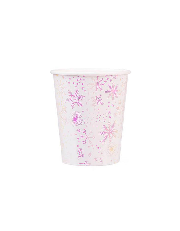 Daydream Society_Frosted Party Paper Cups_Set of 8 with iridescent foil-pressed snowflake pattern. Party ware for Winter, Snow, Christmas, Frozen, Frozen 2 Party