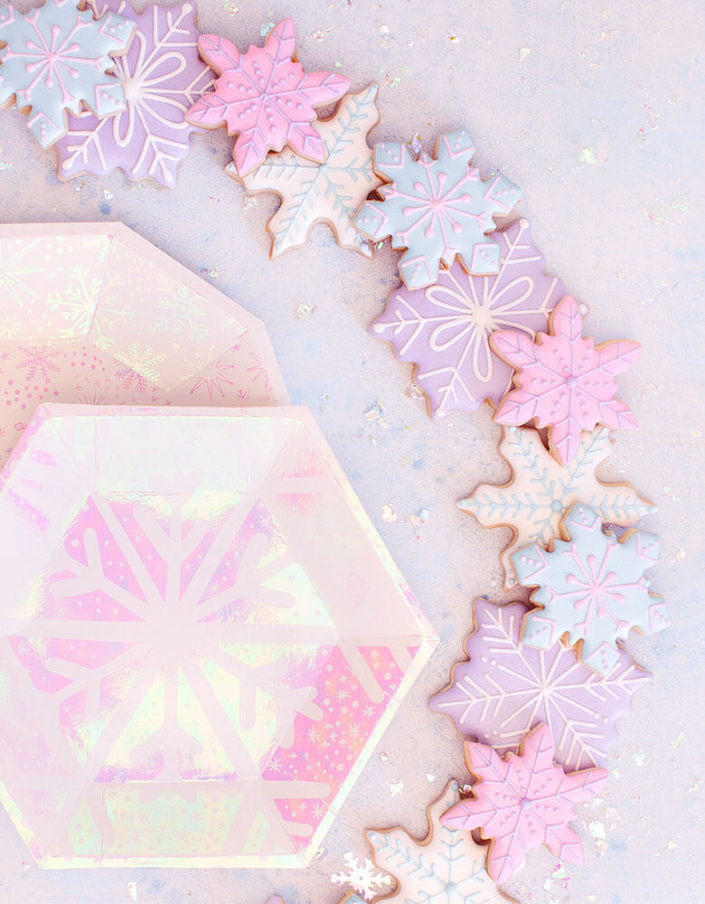 Daydream Society_Frosted Collection_Snowflake designed Party Supplies with snowflake cookies around it