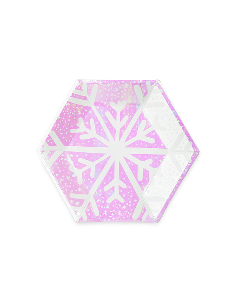 Daydream Society_Frosted Plates with snowflake design in iridescent lilac color_Set of 8