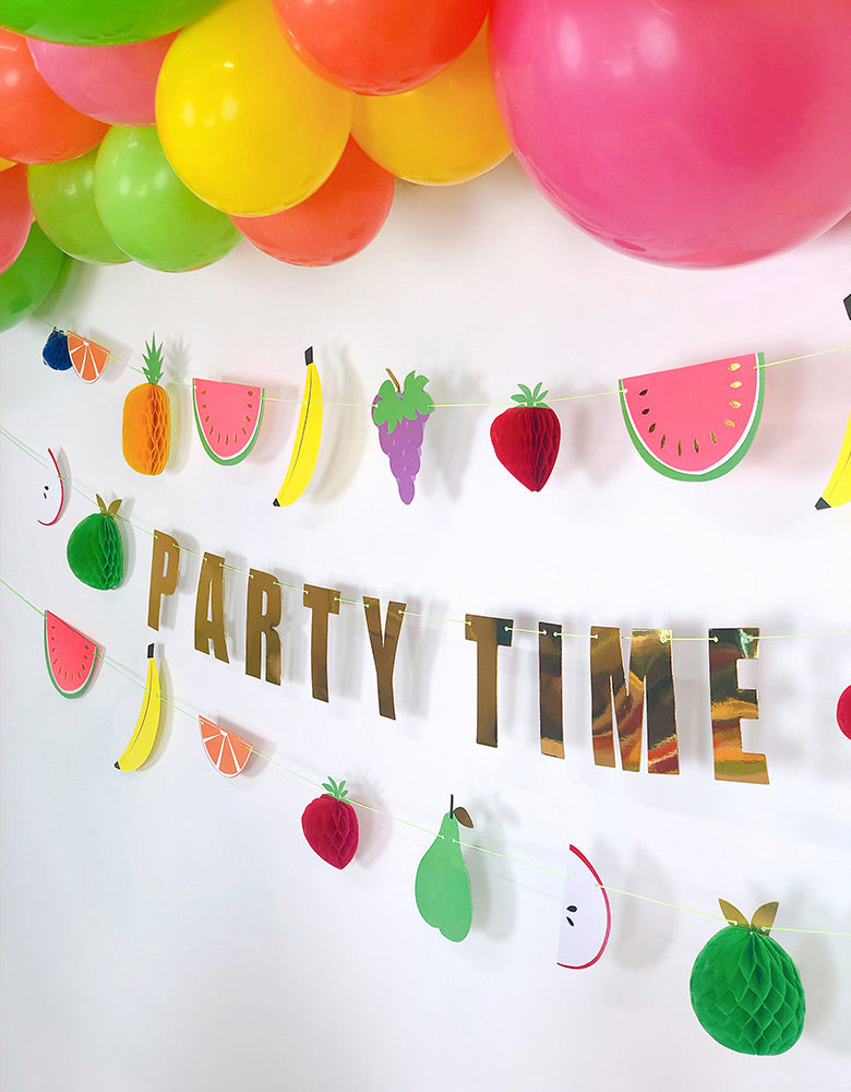 Meri Meri_Fruit Honeycomb Garland with Party Time sign