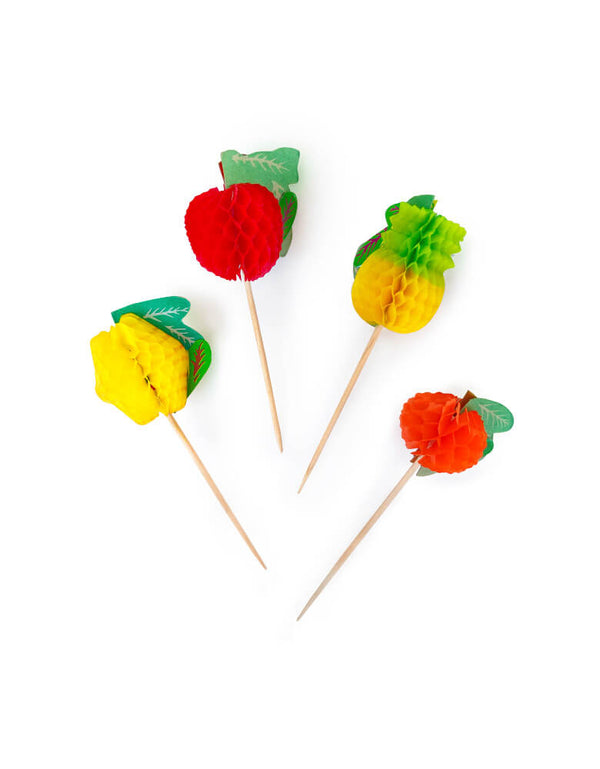Colorful Honeycomb Fruit Picks to cocktails or appetizers for summer or fruit party