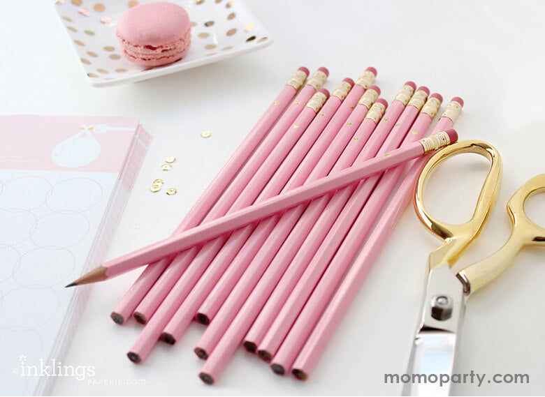 Full Gold Heart - Pink Full Length Pencils (Set of 6)