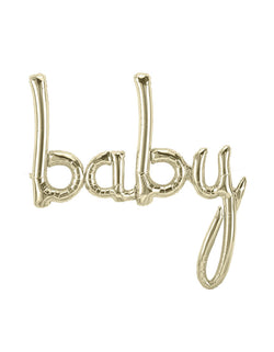 "Northstar 34"" White Gold Baby Script Foil Balloon for Baby shower"