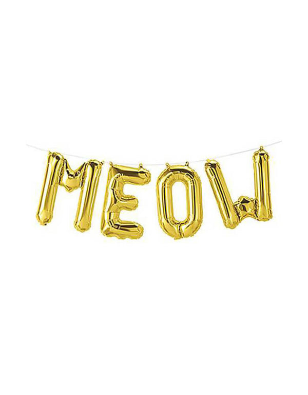 "Northstar 16"" Meow Gold Mylar Balloon Set"