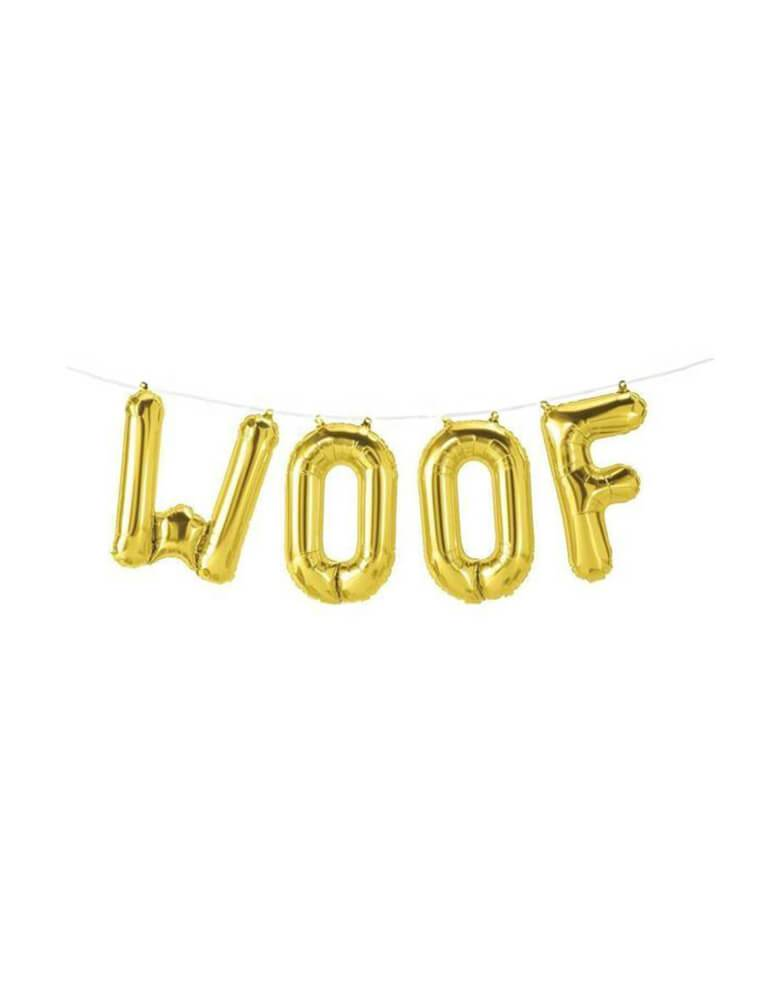 "Northstar 16"" Woof Gold Mylar letter Balloon Set for Dog or pets lover birthday party"