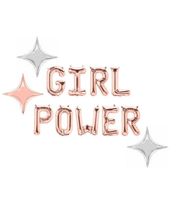 Rose Gold Girl Power Letter Mylar Balloons with Star-point balloons