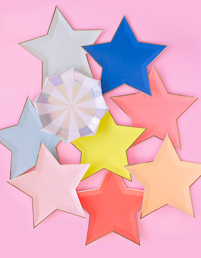 Jazzy Star Plates and Silver Starburst Large Plates in pink background
