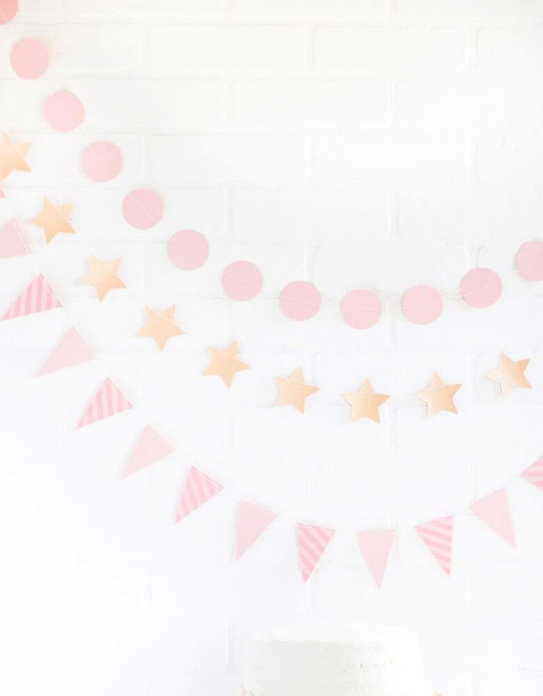My Minds Eye Flag, Star Circle Pink Mini Banner Set
