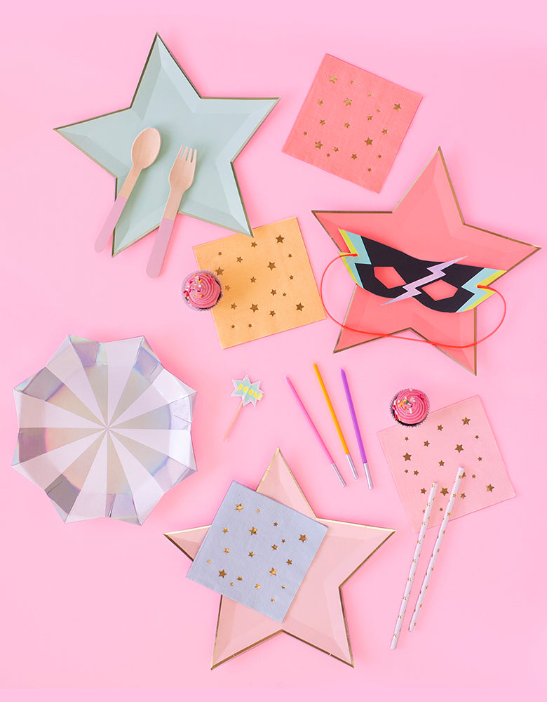 Party tableware set inspire with Jazzy Star Napkins, Star plates, Pastel candles