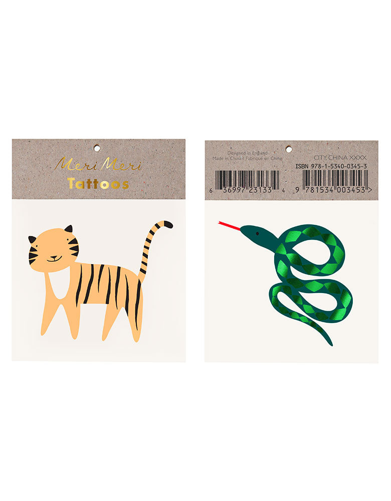 Tiger and snake Get Wild Temporary Tattoo set