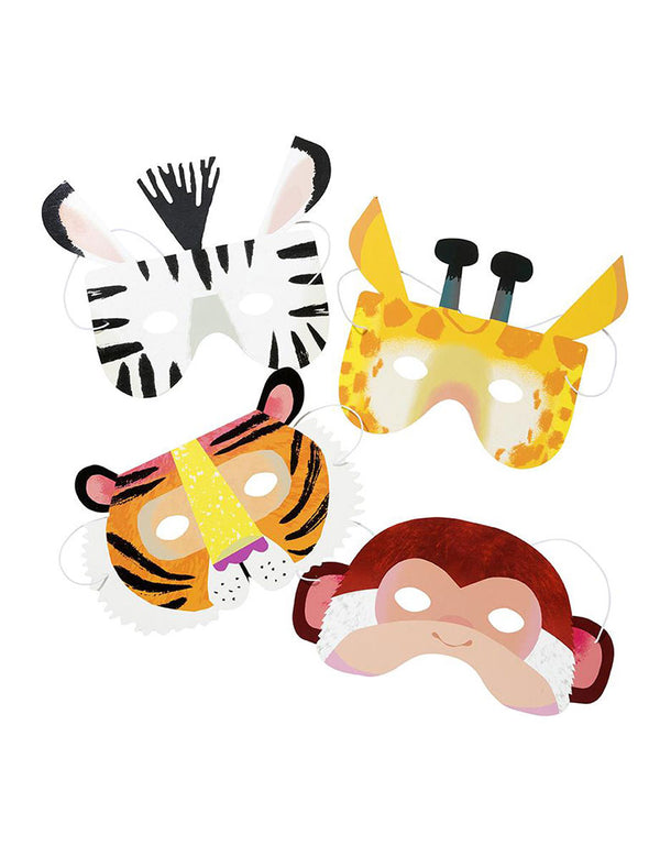 Party Animals Paper Masks of Zebra, Giraffe, Tiger and Monkey