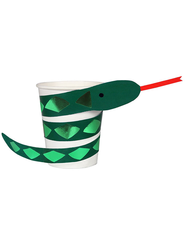 Meri Meri Snake paper Cups with green foil embellished sleeve