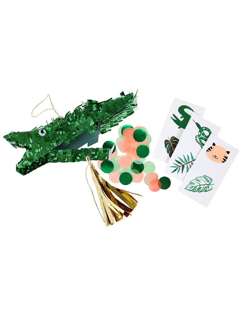Crocodile Party Favor Piñata with Googly eyes, gold tassel & green foil detail Contains confetti & 2 temporary tattoos