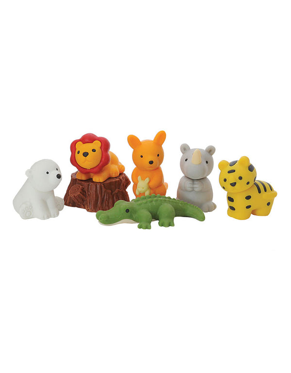 Schylling Toys Iwako Safari Animal Novelty Eraser  - 7 Piece Set