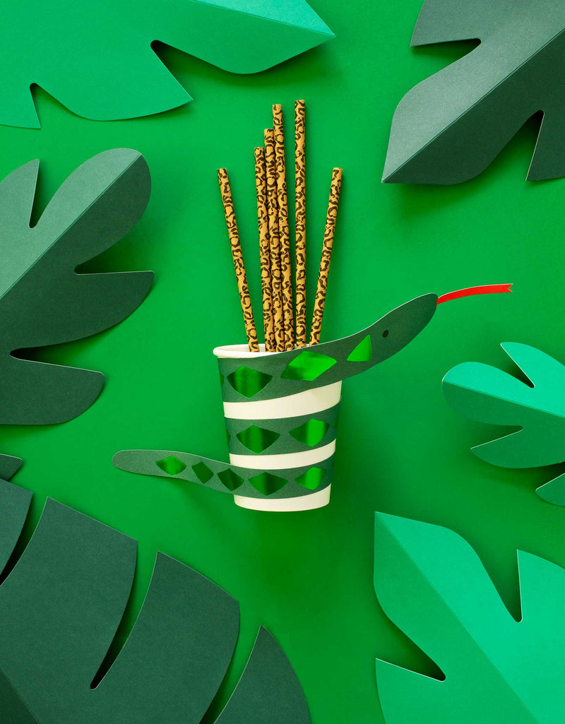 Meri Meri Snake Paper Cup with Animal printed Paper Straw on the green graphic background with paper leaves