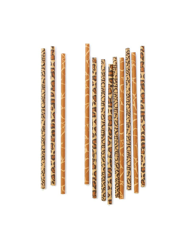 eco-friendly animal print design paper straws mixed with Giraffe, Cheetah and Leopard Pattens  for a  Jungle themed Party, Safari themed Birthday Party or Animal themed party