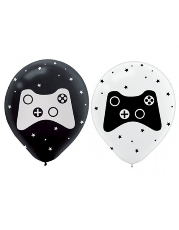 AMSCAM Game Controller Latex Balloon. this 11 inches black and white latex balloon with game controller prints and starts, are prefect for a game themed birthday, playstation gamer, playstation themed birthday, boy's birthday