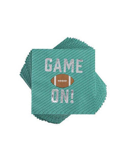"Cakewalk 5"" Game On Appetizer Napkins in green with silver foil workings - Set of 20"