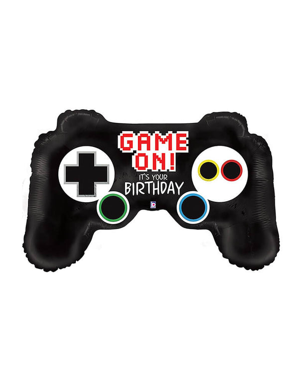 "Betallic 36"" Game Controller Foil Balloon with game on it's your birthday message on it"