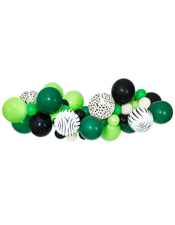 Get-Wild-Balloon-Garland. safari Balloon garland balloon with Green, black and animal printed latex balloons