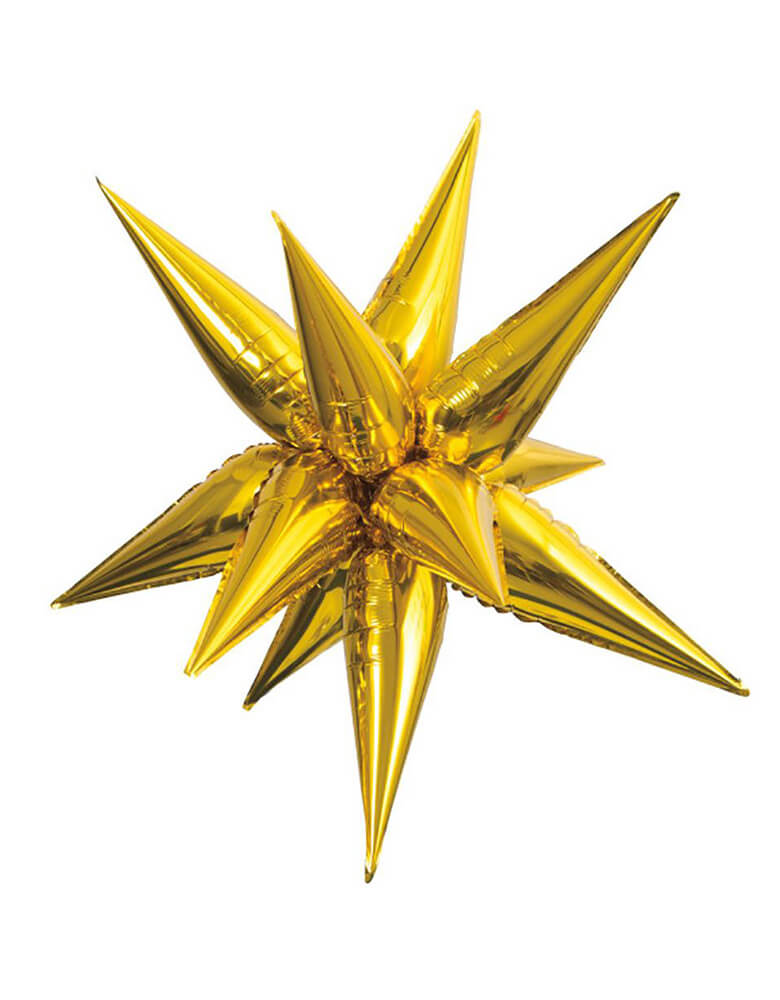 "Unique 39"" Giant 12 Point Gold Starburst Foil Balloon"