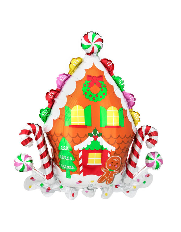 "Anagram 30"" Gingerbread House Foil Mylar Balloon. Featuring peppermints, candy canes and gingerbread man decorated on a gingerbread house. Adding this unique, high quality, designed cute foil balloon for your holiday celebration"