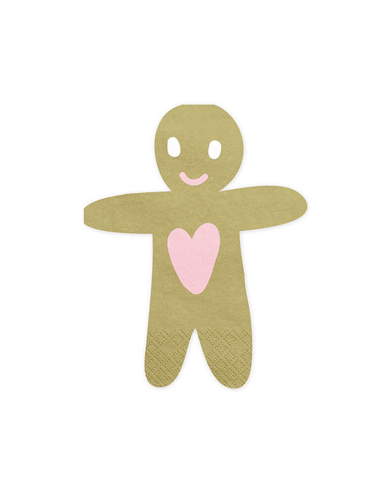 "Party Deco 6.3"" Gingerbread Man Napkins for Christmas party"