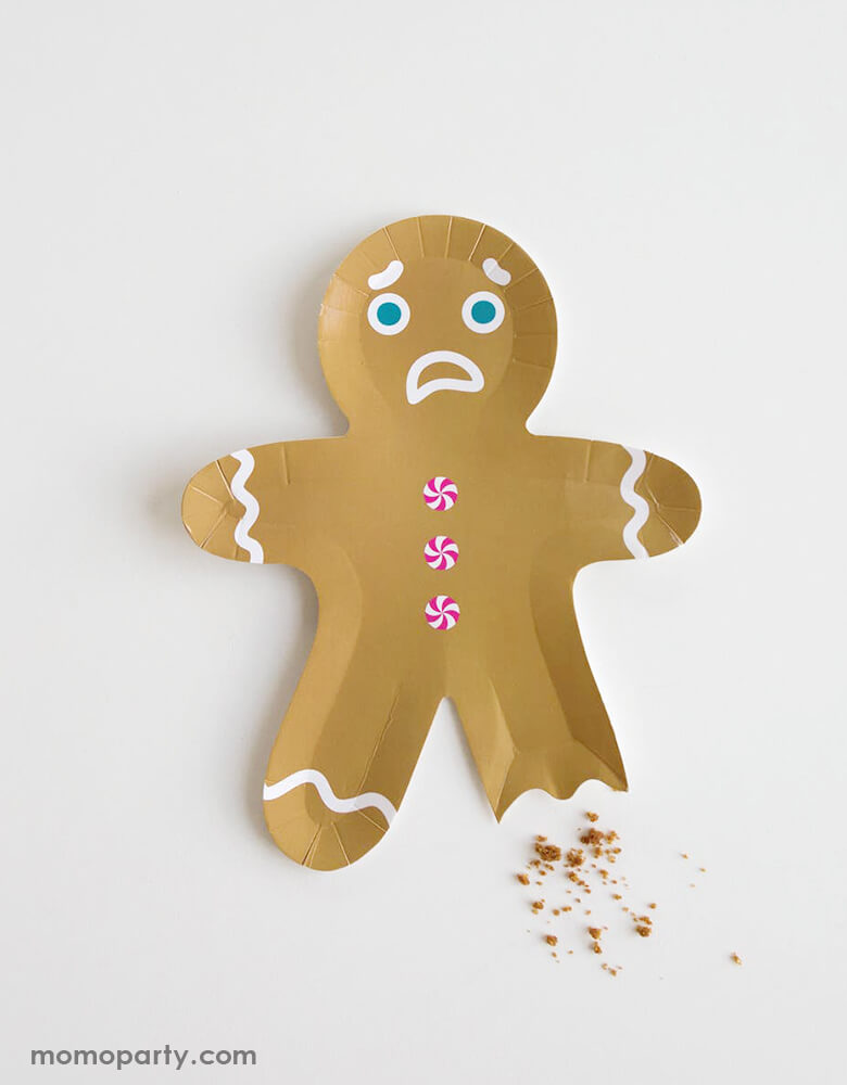 Jollity & Co Gingerbread Man Die-cut shaped Plates with bitted leg and sad face, adding some cookie crush for a fun christmas celebration. sold by high quality unique party boutique store at momoparty.com