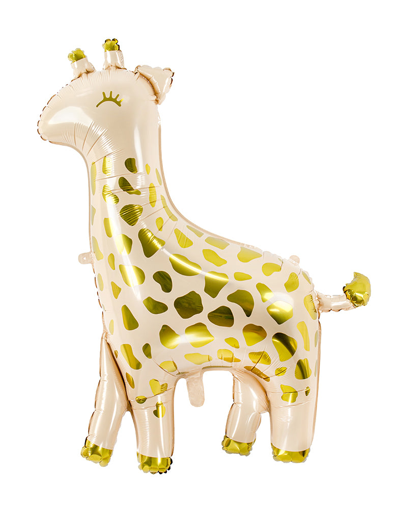 Party Deco -  40 inch Giant Giraffe Foil Mylar Balloon. This adorable giraffe shape foil mylar balloon in cream color with gold metallic prints is perfect for your little one's safari or zoo themed celebration!