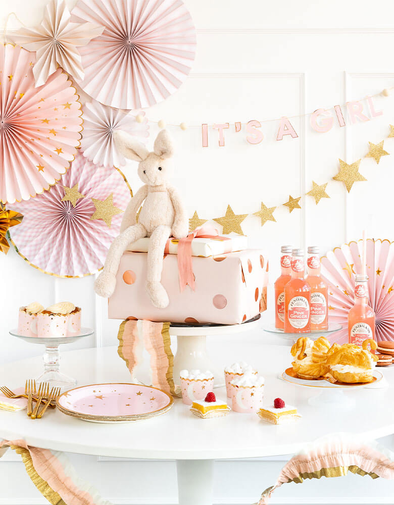 A Baby Girl Shower Table featuring My Mind's Eye baby collection of tableware and decorations in baby pink and star designs
