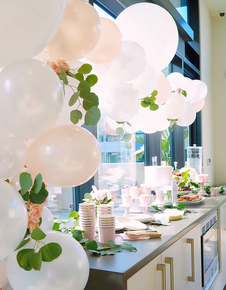 Modern Girl-Baby-Shower-Balloon Decoration with Jumbo round pearl white latex balloon by Qualatex, Jumbo Balloons,  with fresh flowers and leaves
