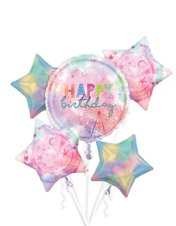 "Anagram Balloons - 42230 Girl-chella Bouquet P75. Create a spectacular display for your groovy birthday party with this five-piece balloon bouquet. The large round foil balloon features a giant Ferris wheel and a ""Happy birthday"" headline. Round out your eye-catching decoration with two silver iridescent star foil balloons and two matching pastel star foil balloons."
