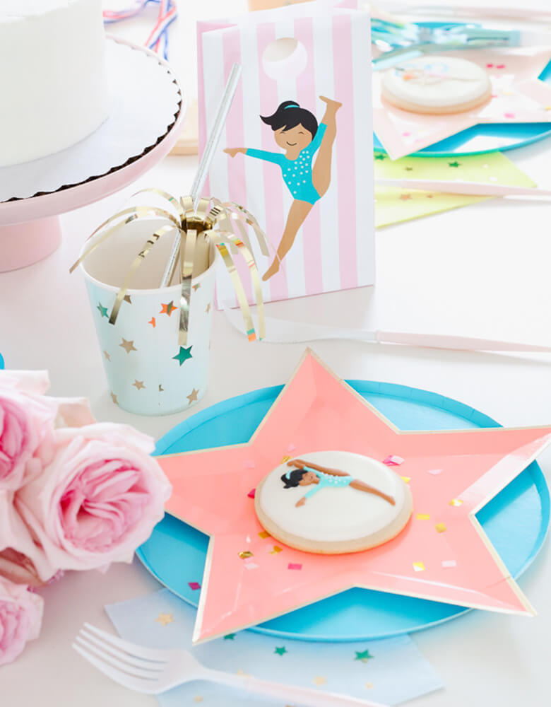Twinkle Twinkle Little Party Girls-Gymnastics-Party-Ideas Featuring Oh Happy Day Sky Blue Plates and Meri Meri's Jazzy Star plates and cups